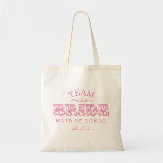 """Personalized """"Team Bride"""" Bridal Party Tote (pink)"""