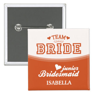 Personalized Team Bride Junior Bridesmaid Button