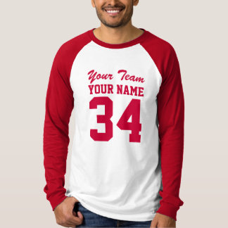 Personalized Team Number Athletic Sport Jersey Red T-Shirt