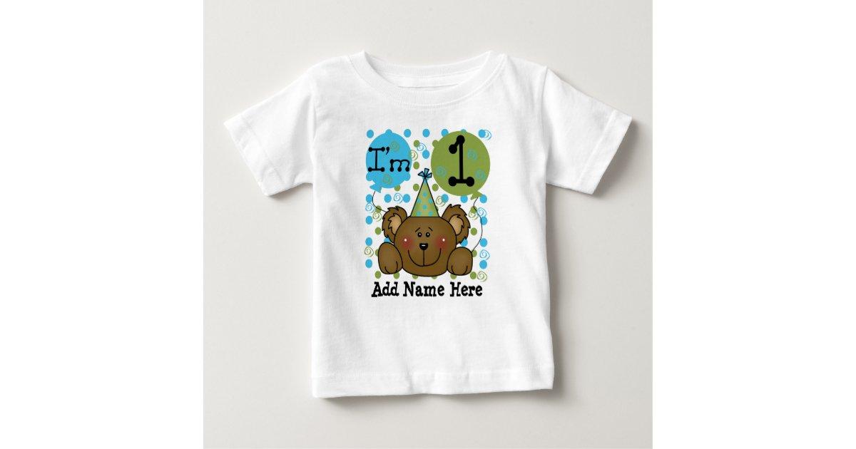 Personalized Teddy Bear 1st Birthday T Shirt Zazzle Com