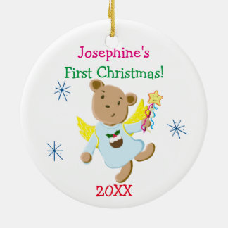 Personalized Teddy Bear Angel First Christmas Ceramic Ornament