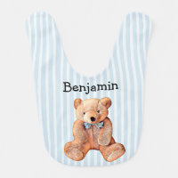 Personalized Teddy Bear Bib with Baby's Name