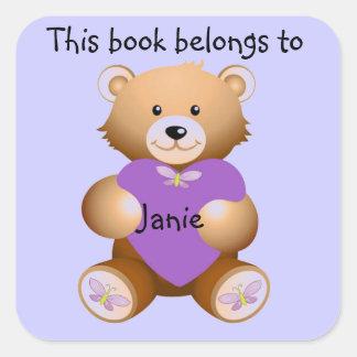 Personalized Teddy Bear Bookplate Sticker Square Sticker