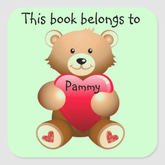 Personalized Teddy Bear Bookplate Sticker