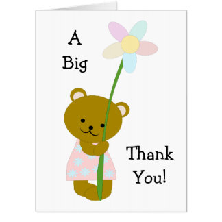 Personalized Teddy Bear Thank You Card