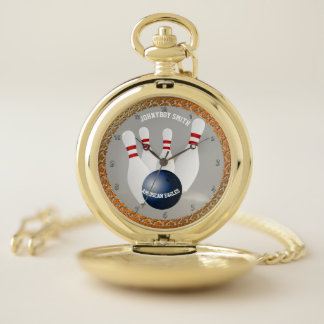 Personalized ten pin bowling pocket watch