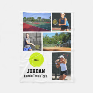 Personalized Tennis 5 Photo Collage Name Year Fleece Blanket