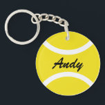 """Personalized tennis ball keychain with name<br><div class=""""desc"""">Personalized yellow tennis ball keychain with name.  Custom round key chain for friends,  family,  kids,  coach,  trainer,  player,  fan etc. Create your own sports Birthday party favor gifts for adults and children. Also nice for club or event.</div>"""