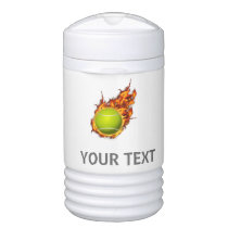 Personalized Tennis Ball on Fire Tennis Theme Gift Beverage Cooler