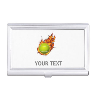 Personalized Tennis Ball on Fire Tennis Theme Gift Business Card Case