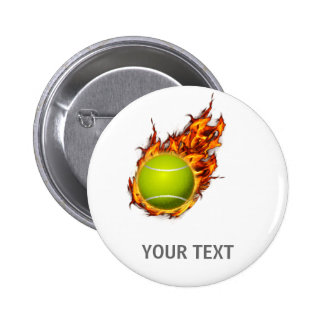 Personalized Tennis Ball on Fire Tennis Theme Gift Button