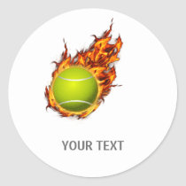 Personalized Tennis Ball on Fire Tennis Theme Gift Classic Round Sticker