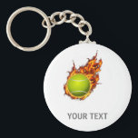 "Personalized Tennis Ball on Fire Tennis Theme Gift Keychain<br><div class=""desc"">Personalized Tennis Ball on Fire Tennis Theme Gifts</div>"