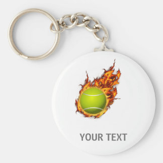 Personalized Tennis Ball on Fire Tennis Theme Gift Keychain
