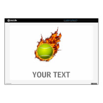 Personalized Tennis Ball on Fire Tennis Theme Gift Laptop Decal
