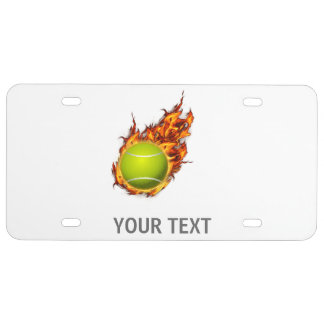 Personalized Tennis Ball on Fire Tennis Theme Gift License Plate