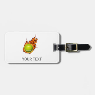 Personalized Tennis Ball on Fire Tennis Theme Gift Luggage Tag