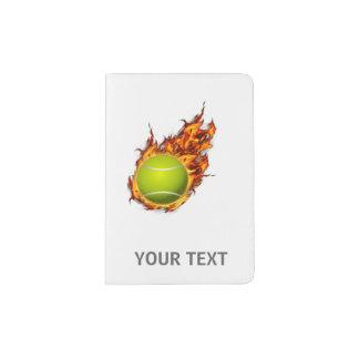 Personalized Tennis Ball on Fire Tennis Theme Gift Passport Holder