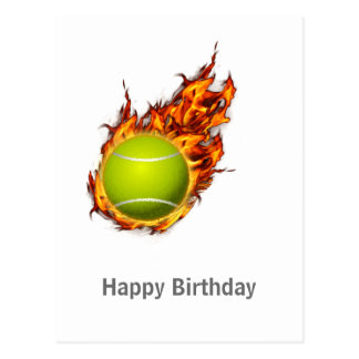 Personalized Tennis Ball on Fire Tennis Theme Gift Postcard