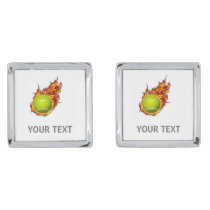 Personalized Tennis Ball on Fire Tennis Theme Gift Silver Cufflinks