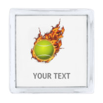 Personalized Tennis Ball on Fire Tennis Theme Gift Silver Finish Lapel Pin
