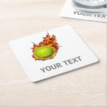 "Personalized Tennis Ball on Fire Tennis Theme Gift Square Paper Coaster<br><div class=""desc"">Personalized Tennis Ball on Fire Tennis Theme Gift</div>"
