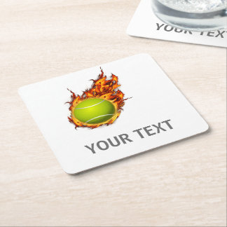 Personalized Tennis Ball on Fire Tennis Theme Gift Square Paper Coaster