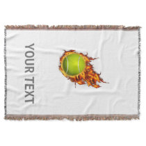Personalized Tennis Ball on Fire Tennis Theme Gift Throw Blanket
