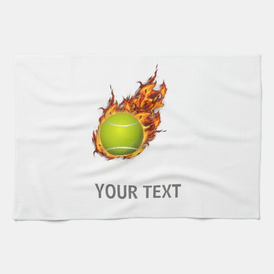 Personalized Tennis Ball on Fire Tennis Theme Gift Towel