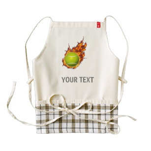 Personalized Tennis Ball on Fire Tennis Theme Gift Zazzle HEART Apron