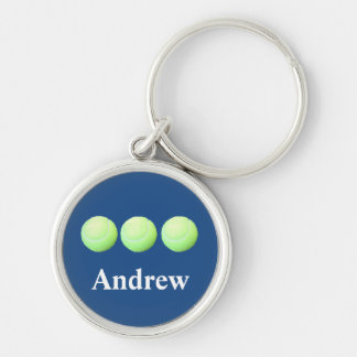 Personalized Tennis Balls in a Row Silver-Colored Round Keychain