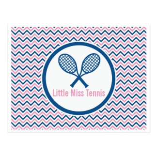 Personalized Tennis & Blue and Pink Chevron Design Postcard