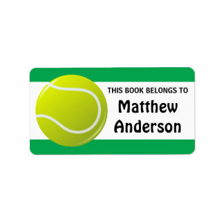 Personalized tennis bookplates for kids address label
