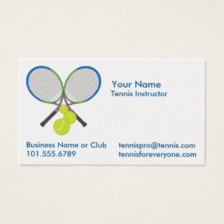 Personalized Tennis Crossed Rackets Business Card