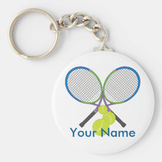 Personalized Tennis Crossed Rackets Keychain