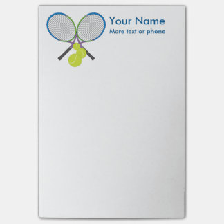 Personalized Tennis Crossed Rackets Post-it Notes