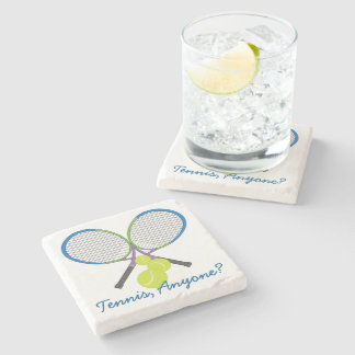 Personalized Tennis Crossed Rackets Stone Coaster