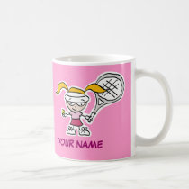 Personalized tennis mug gift with cute cartoon