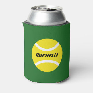 Personalized tennis party bottle and can coolers