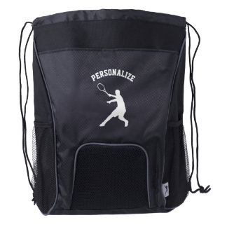 Personalized tennis player drawstring backpack