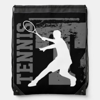 Personalized tennis player drawstring backpack bag