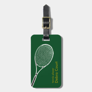 personalized tennis player travel tag for luggage