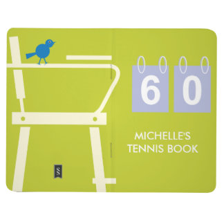 Personalized tennis pocket journal for score notes