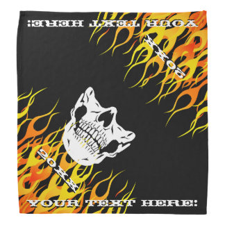 Personalized Text Flames Skull Half Face Mask Bandana