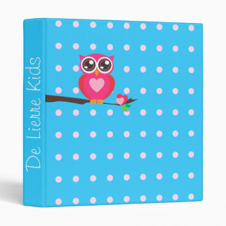 Personalized,Text,Pink Owl,Polka Dots,Blue Binder