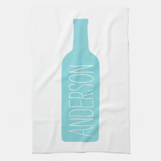 Personalized Text with Blue Bottle Illustration Kitchen Towel
