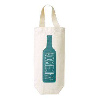 Personalized Text with Blue Bottle Illustration Zazzle HEART Wine Bag