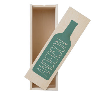 Personalized Text with Bottle - CAN EDIT COLOR Wooden Keepsake Box