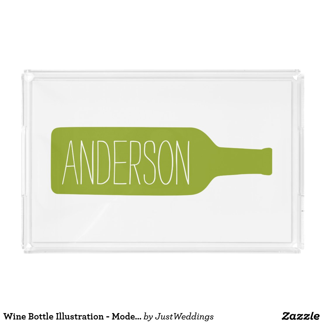 Personalized Text with Bottle Illustration Acrylic Tray