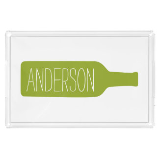 Personalized Text with Bottle Illustration Rectangle Serving Trays